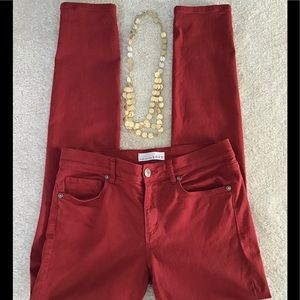 ❤️Loft Red Denim Modern Skinny Stretch Jeans Sz 2